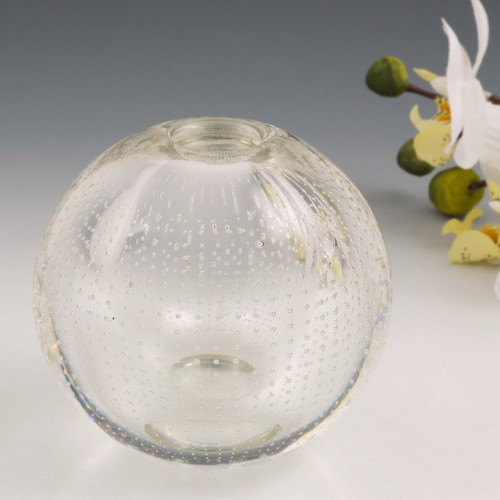 A Leerdam Hemispherical Glass Controlled Bubble Spijkerbol  'Nail Ball' Paperweight Vase By A D Copier c1960s
