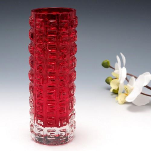 A Whitefriars Red Aztec Vase Pattern 9816 c1970