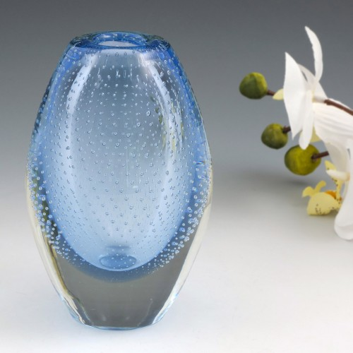 A Leerdam Elongated Glass Controlled Bubble Spijkerbol 'Nail Ball' Paperweight Vase By A D Copier c1960s