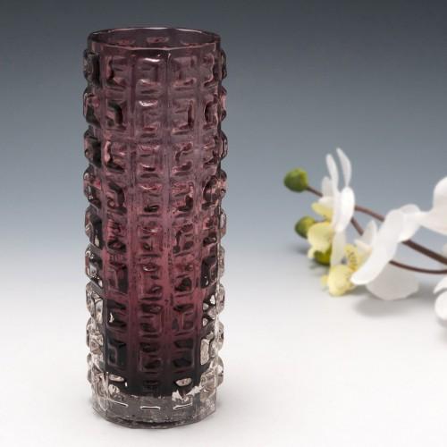 A Whitefriars Aubergine Aztec Vase Pattern 9816  c1970