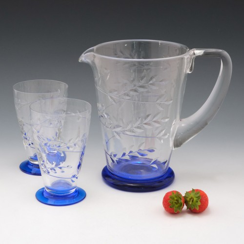 An Engraved Webb Pitcher and Glasses c1940