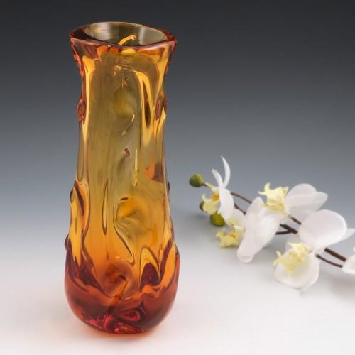 A Whitefriars Knobbly Vase in Gold FLC c1970