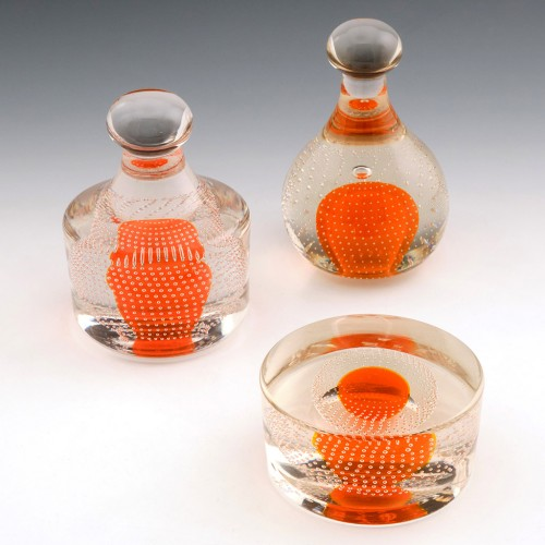 A Set of Three Whitefriars  Tangerine Paperweight by Geoffrey Baxter c1969