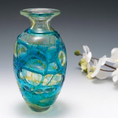 A Mdina Vase With Turquoise and Yellow Trails c1980