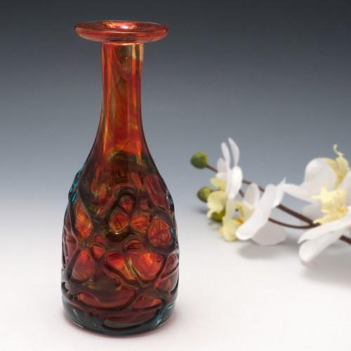 A Mdina Bottle Vase with Turquoise Trailing c1980