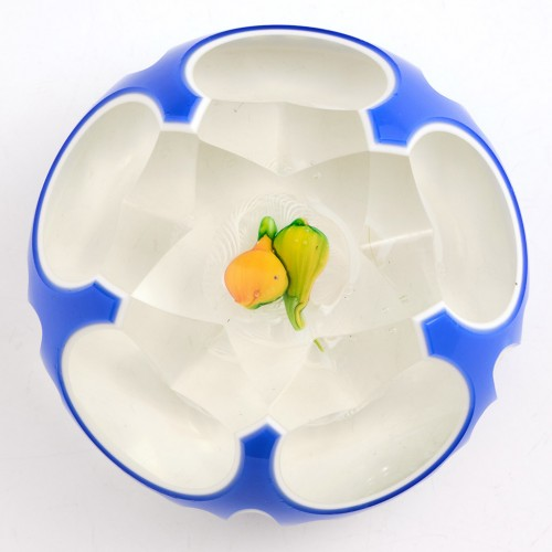 A Murano Double Cased Fruit On Latticino Paperweight c1950