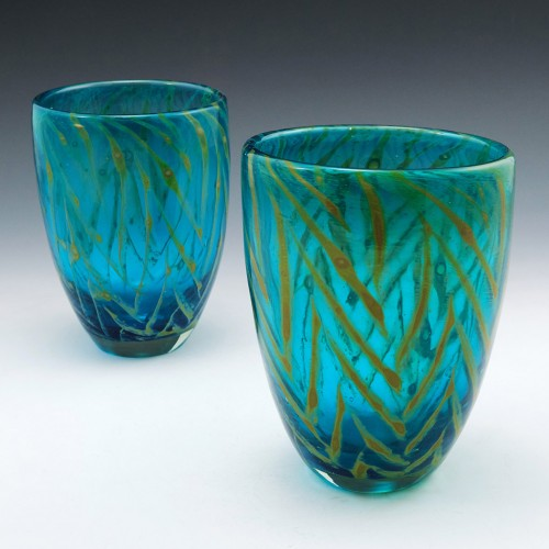A Pair of Mdina Chevron Vase c1980