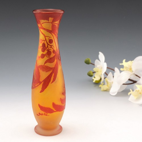 Galle Cameo Glass Vase Depicting Elderberries c1920