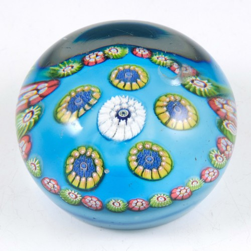 A Rare Concentric Paperweight With Blue Ground c1880