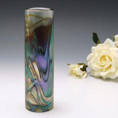 Iridescent Okra Glass Bud Vase 1983