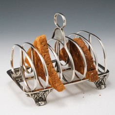 A Fine Victorian Six Division Sterling Silver Toast Rack London 1840
