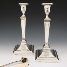 Pair Neoclassical Sterling Silver Candlesticks Sheffield 1903