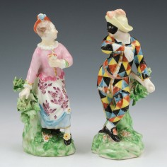 Derby Porcelain Figure Of A Harlequin and Columbine c1775