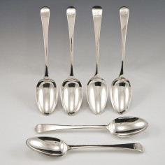Six  Sterling Silver Hanoverian Pattern Dessert Spoons London 1792