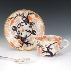 New Hall Pattern 446 Imari Vine Teacup and Saucer c1815