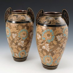 A Pair of Doulton and Slaters Patent Stoneware Vases c1890