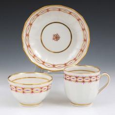 A New Hall  Porcelain Trio c1790