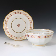 Early New Hall Porcelain Slop Bowl and Stand c1790