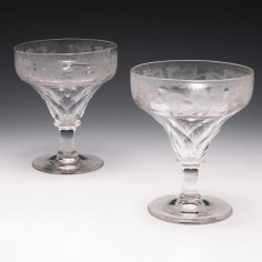 Pair of John Walsh Walsh Wine Glasses c1940
