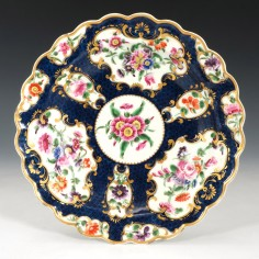 First Period Worcester Blue Scale Dessert Plate c1770