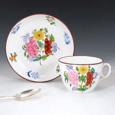 New Hall Porcelain Pattern 1064 Teacup and Saucer c1810