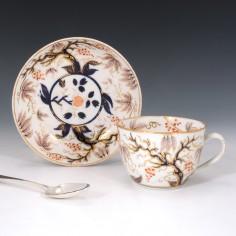 New Hall Porcelain Teacup and Saucer c1820