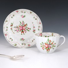 A New Hall Porcelain Teacup and Saucer Pattern 241 c1800