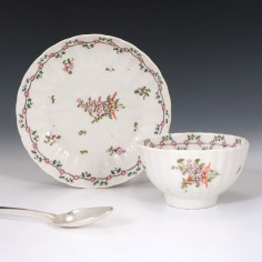 New Hall Porcelain Tea Bowl and Saucer Pattern 191 c1795