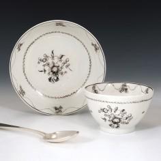 Rare New Hall Pattern 367 Tea Bowl and Saucer 1795-1800