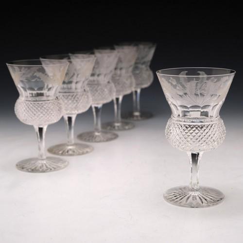 Set of Six Edinburgh Crystal White Wine Glasses c1970