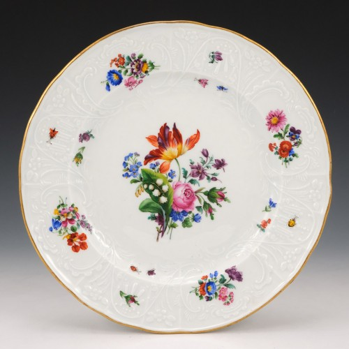 A Meissen Porcelain Plate with Moulded Border c1870