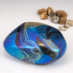 Siddy Langley Iridescent Glass Pebble Paperweight 2003