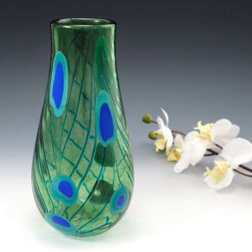 Peacock Feathers vase By Siddy Langley 2006