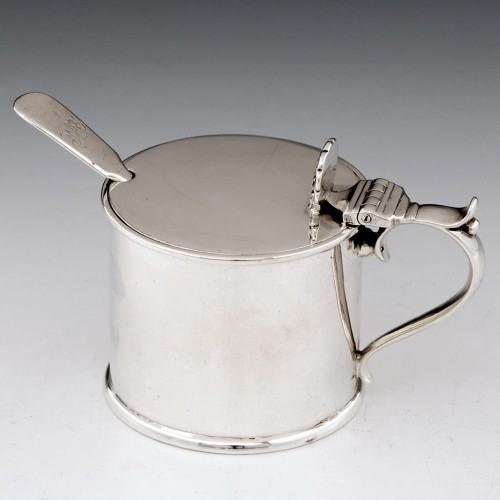 Sterling Silver Drum Mustard With Spoon Sheffield 1908