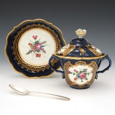 First Period Worcester Porcelain Caudle Or Chocolate Cup and Cover c1770
