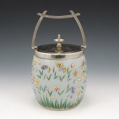 A Hand Enamelled Biscuit Barrel c1890