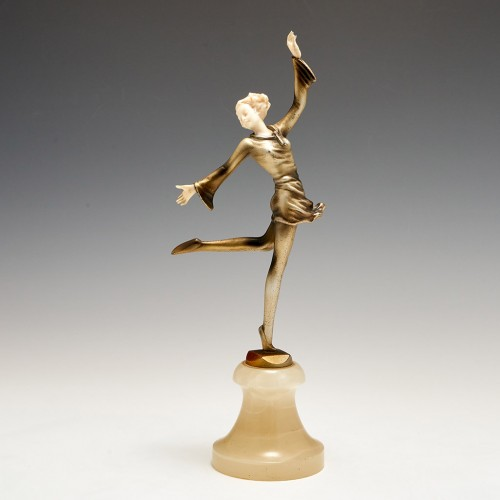An Art Deco Silver Patinated Bronze and Ivory Figure of a Dancer by Josef Lorenzl c1930
