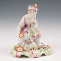 A Derby  Porcelain 'Pale Family' Seated Figure of Spring c1758
