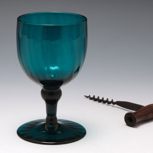 A Rare Rib Moulded Georgian Balustroid Wine Glass c1780