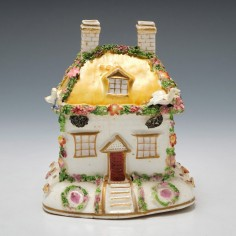 A Charming Two Piece Porcelain Pastille Burner c1840