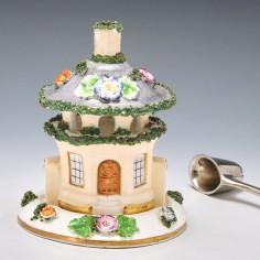 A Two Piece Porcelain Pastille Burner c1845