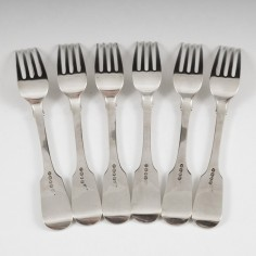 A Set Of Six Sterling Silver Forks London 1825