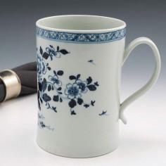 A Liverpool Porcelain Richard Chaffers and Co Quart Tankard 1760-65