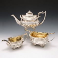 Very Fine George III Sterling Silver Tea Set London 1818