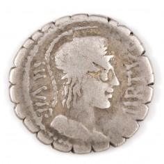 Roman Mn. Aquillus Silver Denarius 65BC
