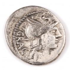 Roman L. Antestius Gragulus Silver Denarius 136BC