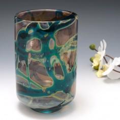 A Mdina Indigo Vase with Silver Chloride Streaks 1970's