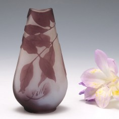 A Galle Cameo Glass Bottle Vase c1910