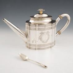 An Italian 800 Standard Silver Teapot c1820