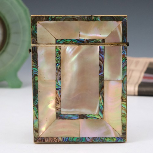 Mother of Pearl and Abalone Shellwork Card Case c1880